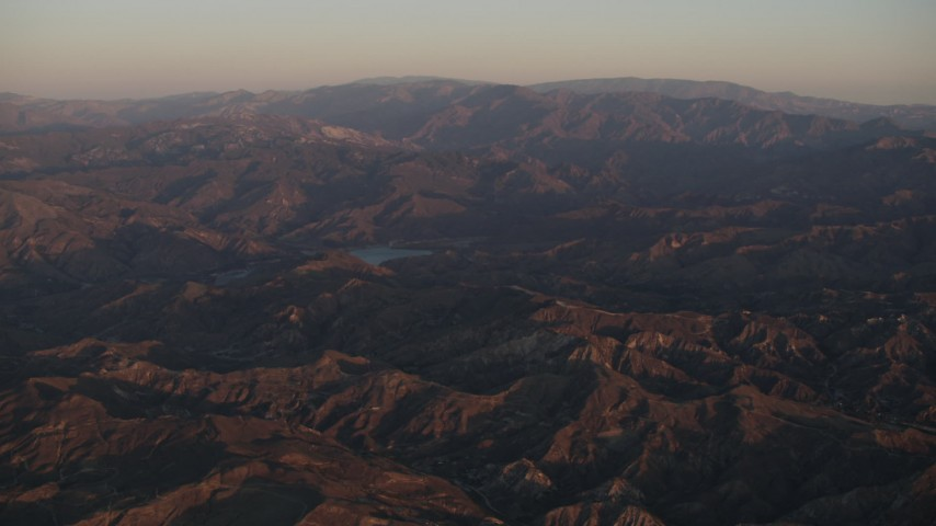 4K Aerial Video Approach a lake in the Los Padres National Forest at sunrise, California Aerial Stock Footage | AX70_006