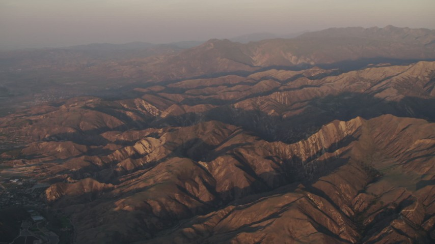 4K stock footage aerial video Rugged mountains of Los Padres National Forest at sunrise, California Aerial Stock Footage | AX70_009