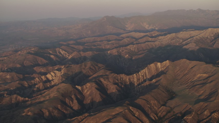 4K stock footage aerial video Mountains at sunrise in Los Padres National Forest, California Aerial Stock Footage | AX70_010