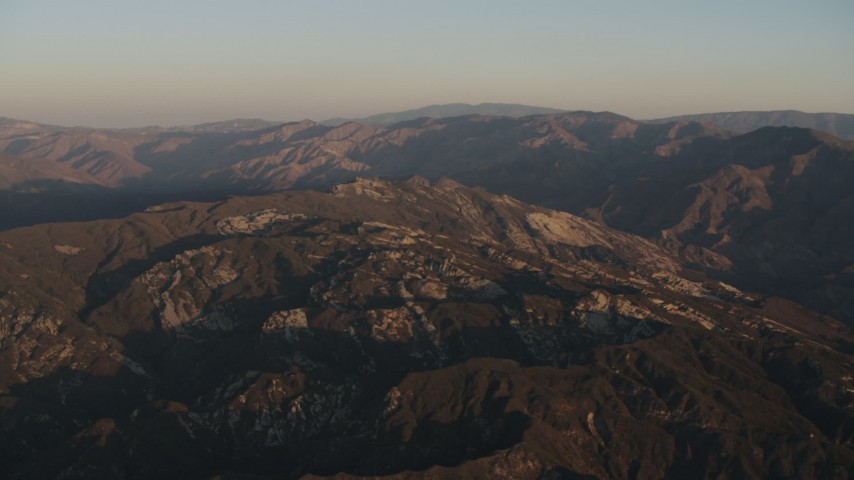 4K stock footage aerial video Approach mountains at sunrise in Los Padres National Forest, California Aerial Stock Footage | AX70_011
