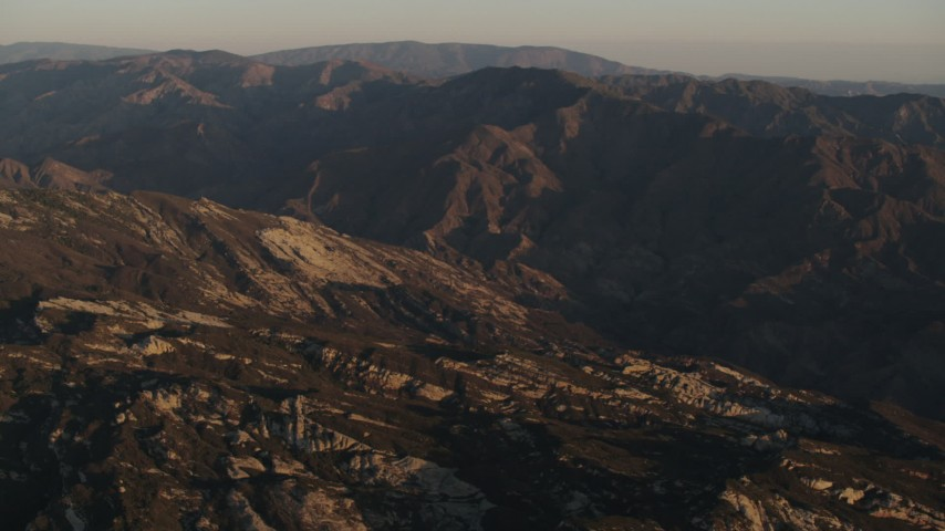 4K stock footage aerial video Mountain ridge at sunrise in Los Padres National Forest, California Aerial Stock Footage | AX70_012