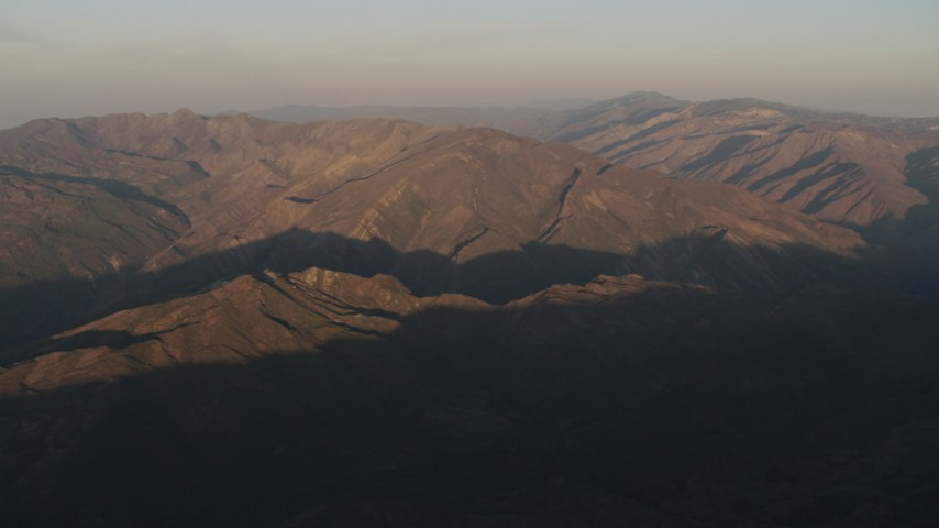 4K stock footage aerial video Mountains at sunrise, Los Padres National Forest, California Aerial Stock Footage   AX70_014