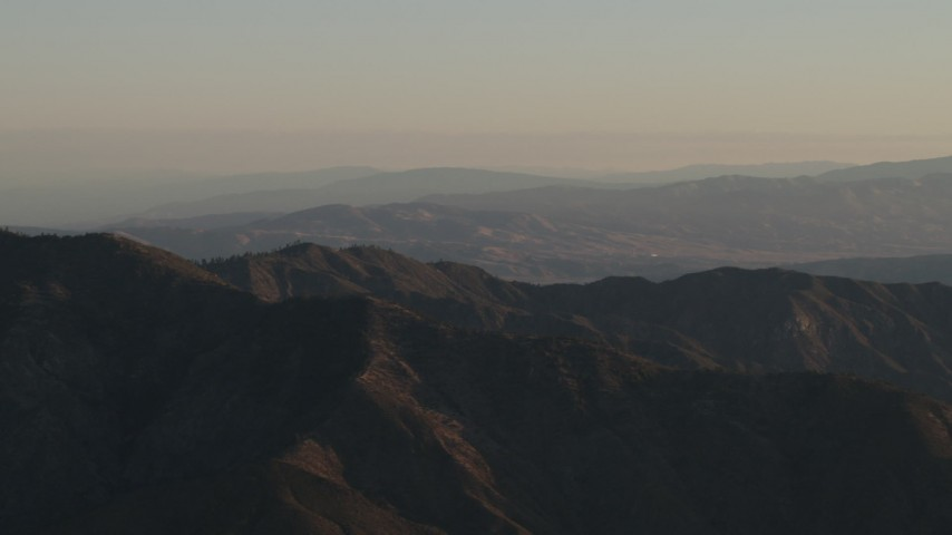 4K Aerial Video A mountain ridge at sunrise, Los Padres National Forest, California Aerial Stock Footage | AX70_016