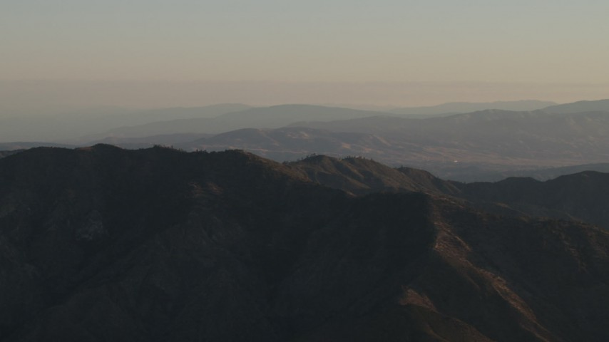 4K stock footage aerial video Flyby mountain ridge at sunrise, Los Padres National Forest, California Aerial Stock Footage | AX70_017