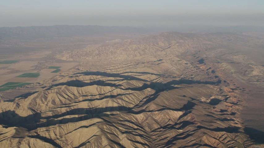 4K stock footage aerial video Mountain ridges at sunrise, Cuyama, California Aerial Stock Footage | AX70_030