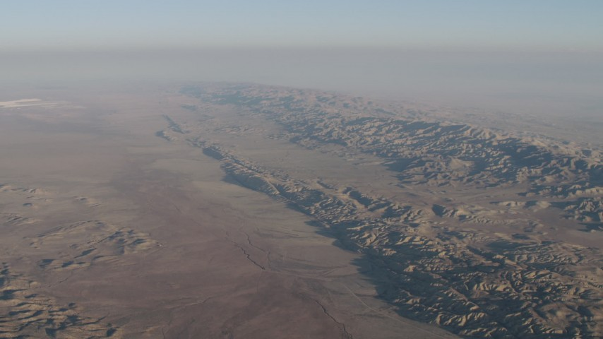 4K Aerial Video Approach the San Andreas Fault and Temblor Range in California Aerial Stock Footage | AX70_034