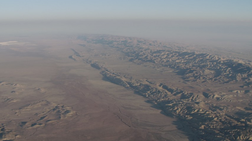4K stock footage aerial video of The San Andreas Fault, Temblor Range, and desert plains in Southern California Aerial Stock Footage | AX70_035