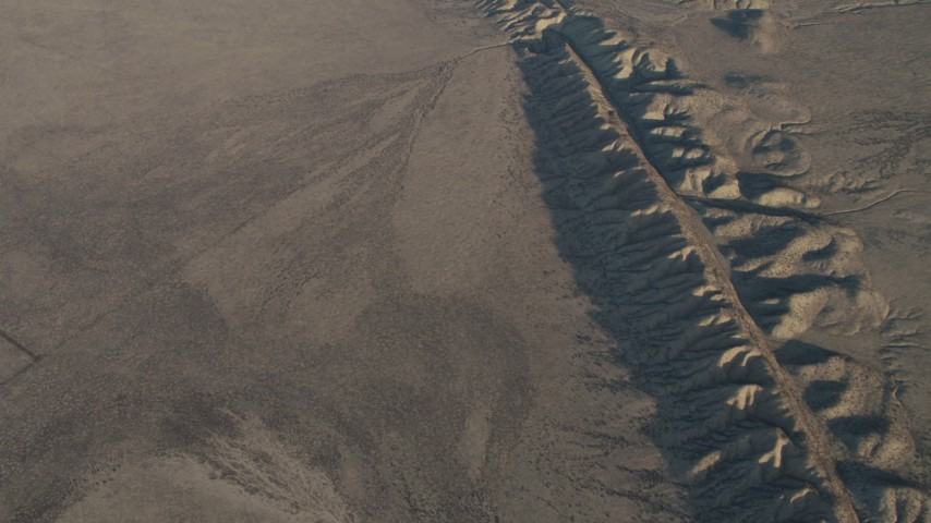 4K stock footage aerial video Bird's eye view of the San Andreas Fault in Southern California Aerial Stock Footage | AX70_044