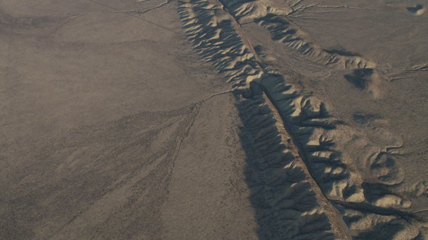 4K Aerial Video Bird's eye of the San Andreas Fault in Southern California Aerial Stock Footage | AX70_045