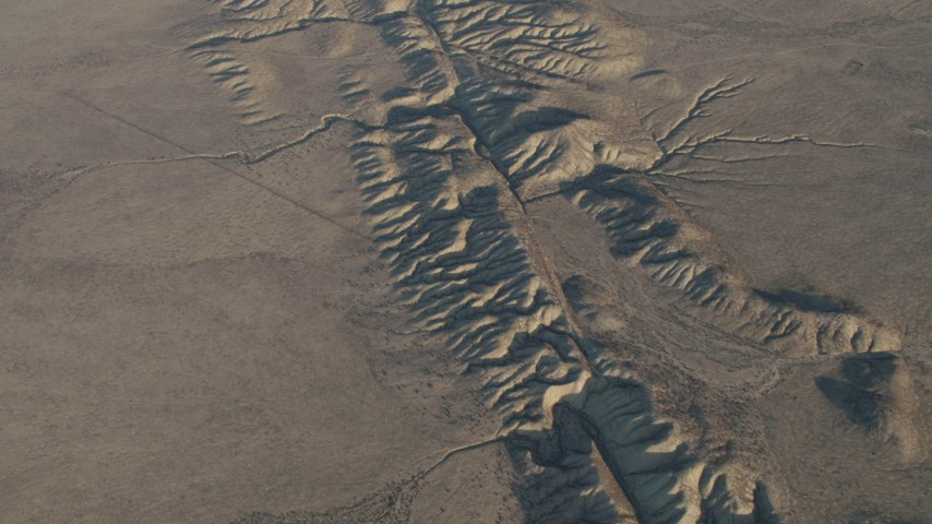 4K Aerial Video Bird's eye of the San Andreas Fault, Southern California Aerial Stock Footage | AX70_046