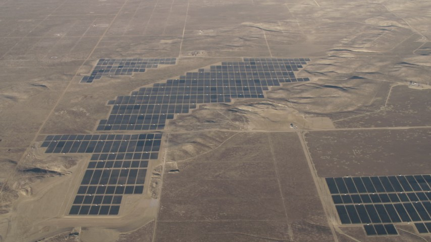 4K Aerial Video Solar arrays at the Topaz Solar Farm in the Carrizo Plain, California Aerial Stock Footage | AX70_053