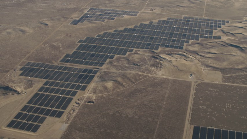 4K stock footage aerial video Large solar arrays at the Topaz Solar Farm in the Carrizo Plain, California Aerial Stock Footage | AX70_054