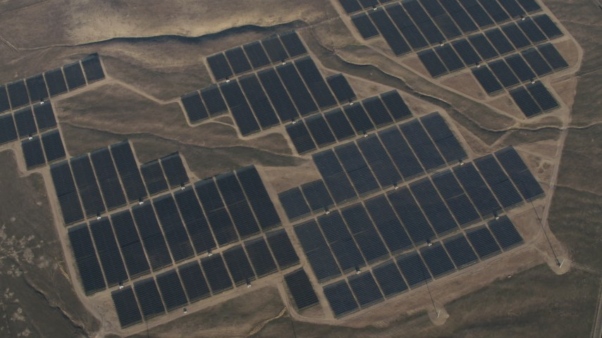 4K Aerial Video Tilt to a bird's eye of solar panels at the Topaz Solar Farm in the Carrizo Plain, California Aerial Stock Footage | AX70_056