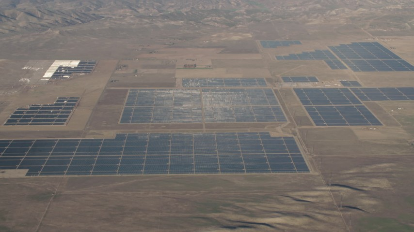 4K Aerial Video Large panels at the Topaz Solar Farm in the Carrizo Plain, California Aerial Stock Footage | AX70_061
