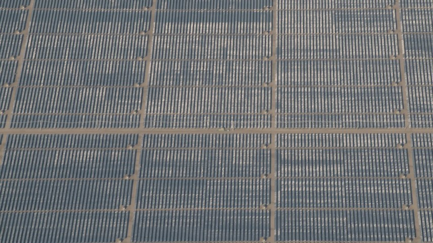 4K stock footage aerial video Panels at the Topaz Solar Farm in the Carrizo Plain, California Aerial Stock Footage | AX70_062