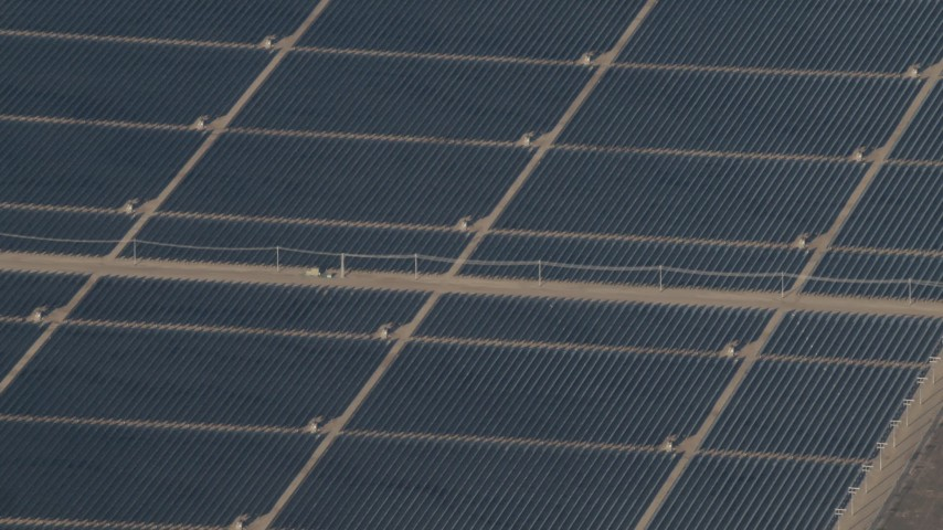 4K Aerial Video of A field of panels at the Topaz Solar Farm in the Carrizo Plain, California Aerial Stock Footage | AX70_064
