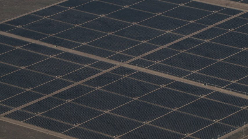 4K Aerial Video Solar array at Topaz Solar Farm in the Carrizo Plain, California Aerial Stock Footage | AX70_066