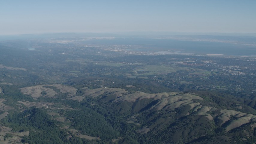4K stock footage aerial video San Francisco Bay seen from the Santa Cruz Mountains, California Aerial Stock Footage | AX70_088