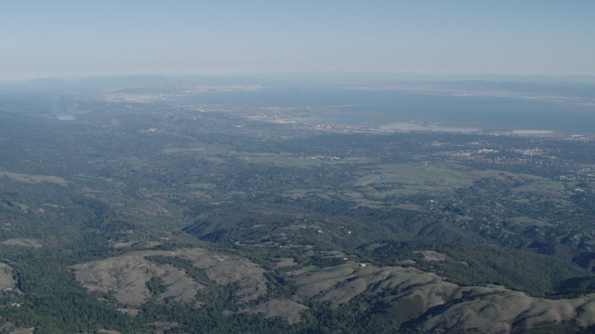 4K stock footage aerial video San Francisco Bay viewed from the Santa Cruz Mountains, California Aerial Stock Footage | AX70_090
