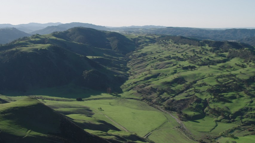 4K stock footage aerial video Approach green hills in Paicines, California Aerial Stock Footage   AX70_159