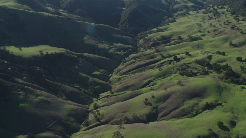 4K stock footage aerial video Tilt to a bird's eye view of green hills and trees in Paicines, California Aerial Stock Footage   AX70_161