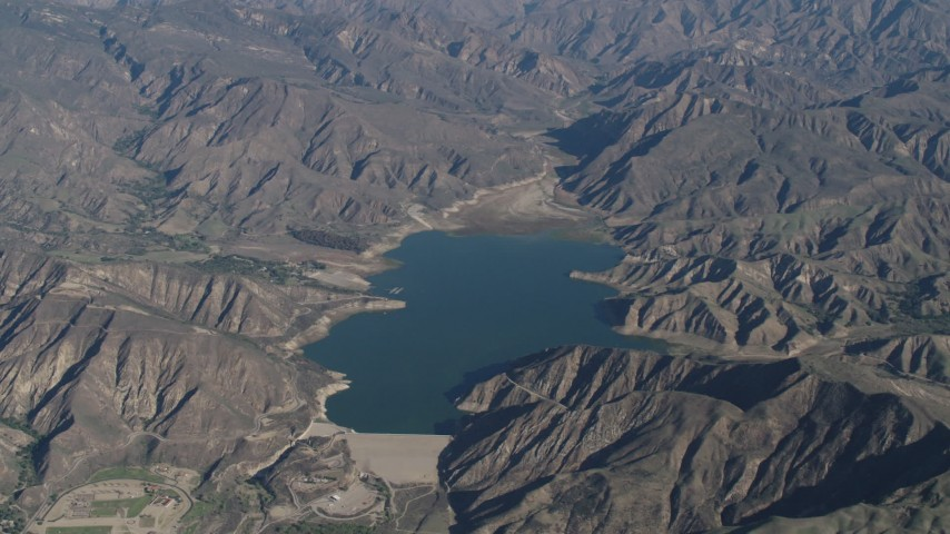 4K stock footage aerial video Flying by the Santa Felicia Dam and Lake Piru in the Los Padres National Forest, California Aerial Stock Footage | AX70_188