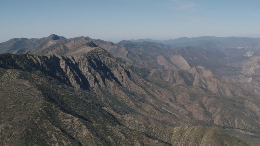 4K stock footage aerial video Rugged mountain ridge in the Los Padres National Forest, California Aerial Stock Footage | AX70_190