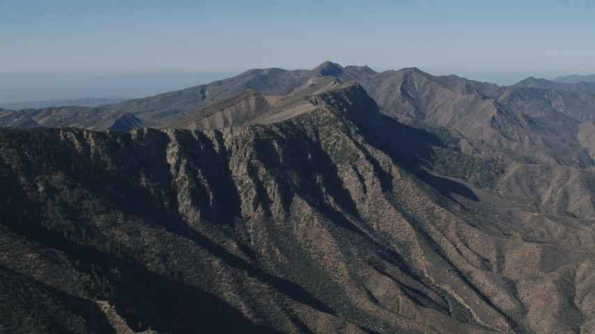 4K Aerial Video of A view of a mountain ridge in the Los Padres National Forest, California Aerial Stock Footage AX70_192 | Axiom Images