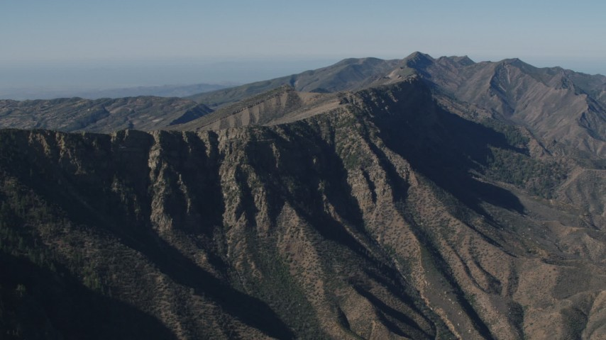 4K Aerial Video Steep-sloped mountain ridge in the Los Padres National Forest, California Aerial Stock Footage | AX70_193