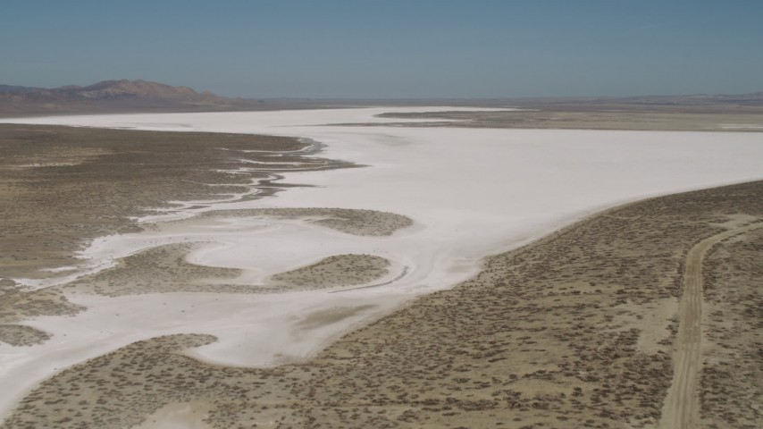 4K stock footage aerial video Approach and fly over Soda Lake, California Aerial Stock Footage | AX70_206