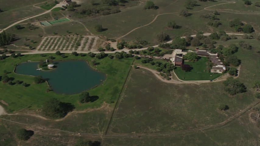 4K stock footage aerial video Upscale home and a pond in Paso Robles, California Aerial Stock Footage | AX70_229