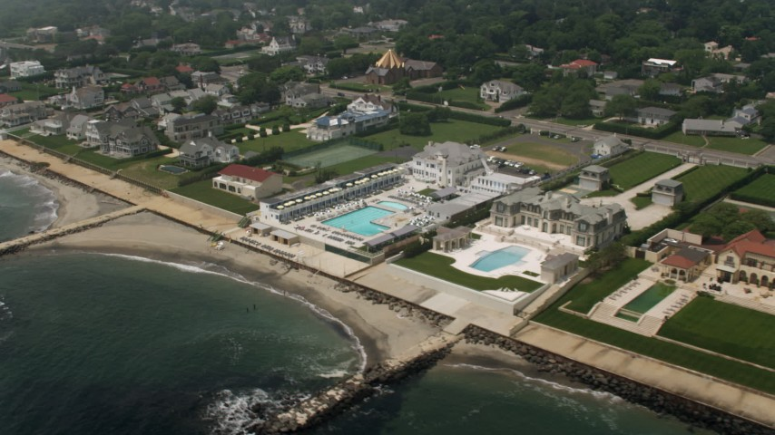 5K stock footage aerial video of Breakwater Beach Club and mansions in Long Branch, Jersey Shore, New Jersey Aerial Stock Footage | AX71_060