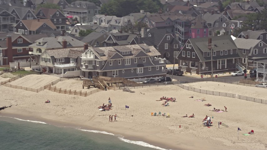 5K stock footage aerial video of beachfront homes in Bay Head, Jersey Shore, New Jersey Aerial Stock Footage | AX71_082