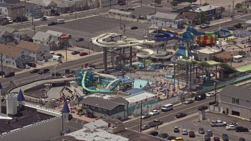 5K stock footage aerial video of Breakwater Beach Waterpark, Seaside Heights, Jersey Shore, New Jersey Aerial Stock Footage   AX71_095E