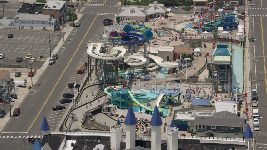 5K stock footage aerial video orbiting Breakwater Beach Waterpark, Seaside Heights, Jersey Shore, New Jersey Aerial Stock Footage | AX71_096