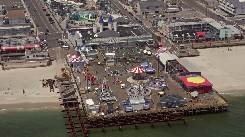 5K stock footage aerial video of an amusement park on Casino Pier, Seaside Heights, Jersey Shore, New Jersey Aerial Stock Footage   AX71_100E