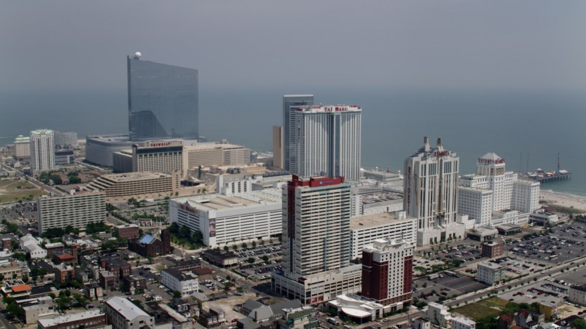 5K stock footage aerial video of hotels on the coast in Atlantic City, New Jersey Aerial Stock Footage | AX71_170