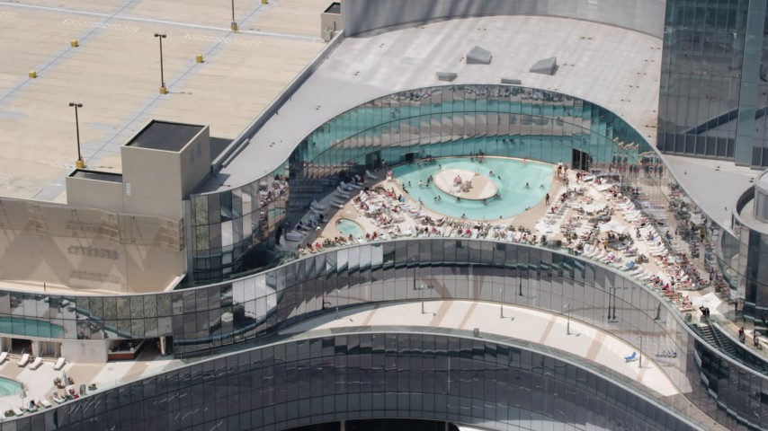 5K aerial video of the pool at Revel Casino Hotel, Atlantic City, New Jersey Aerial Stock Footage AX71_193