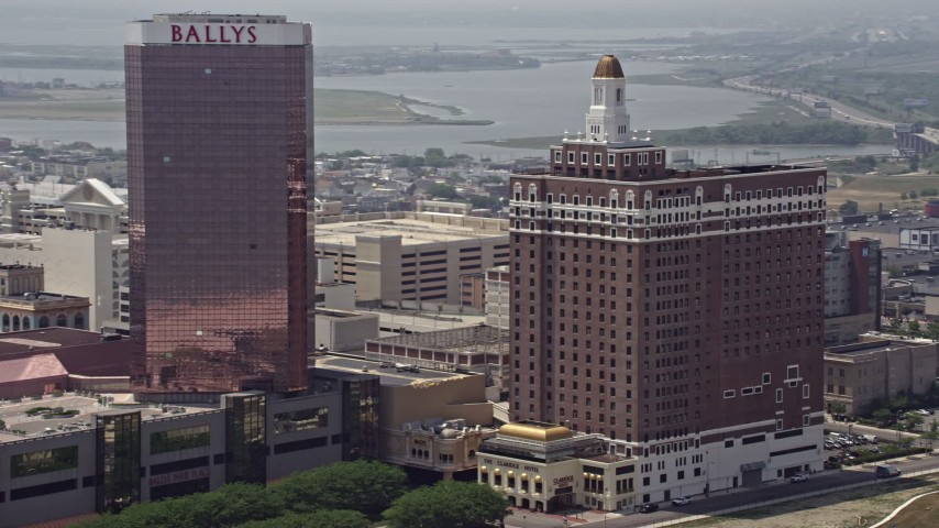 5K aerial video of Claridge Atlantic City hotel in New Jersey Aerial Stock Footage | AX71_196