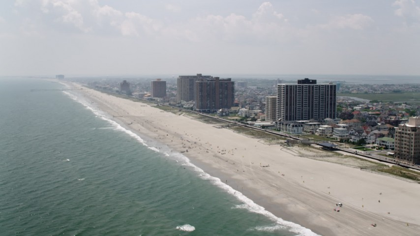 5K stock footage aerial video of beachfront condominium high-rises in Atlantic City, New Jersey Aerial Stock Footage | AX71_203