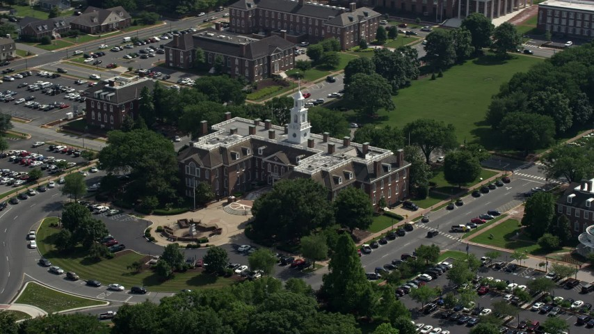 5K stock footage aerial video of the Delaware State Capitol in Dover, Delaware Aerial Stock Footage AX72_069