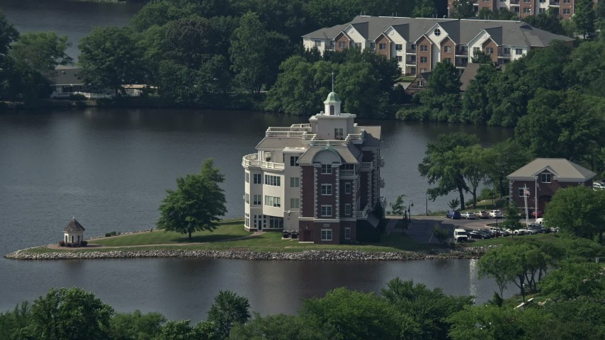 5K stock footage aerial video of Compass Pointe office building in Dover, Delaware Aerial Stock Footage | AX72_071