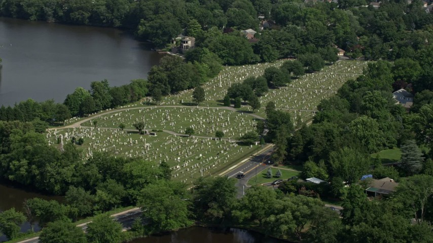 5K stock footage aerial video of Lakeside Cemetery in Dover, Delaware Aerial Stock Footage | AX72_075