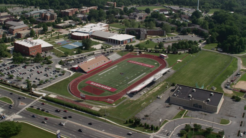 5K aerial video of Alumni Stadium football field at Delaware State University, Dover Aerial Stock Footage AX72_081