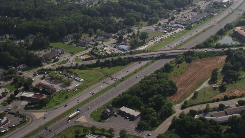 5K aerial video of Blue Star Memorial Highway in Chester, Maryland Aerial Stock Footage AX72_124