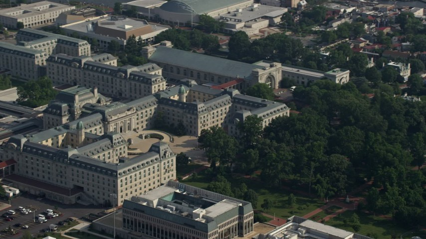 5K stock footage aerial video of Bancroft Hall at United States Naval Academy, Annapolis, Maryland Aerial Stock Footage | AX73_010