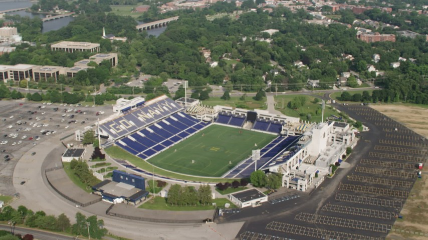 5K stock footage aerial video orbiting Navy-Marine Corps Memorial Stadium in Annapolis, Maryland Aerial Stock Footage | AX73_013