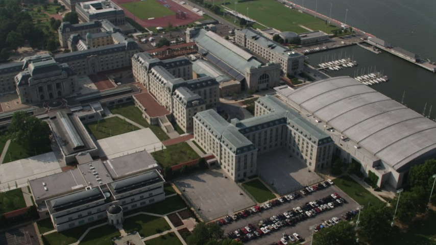 5K stock footage aerial video of Bancroft Hall at the United States Naval Academy, Annapolis, Maryland Aerial Stock Footage | AX73_018