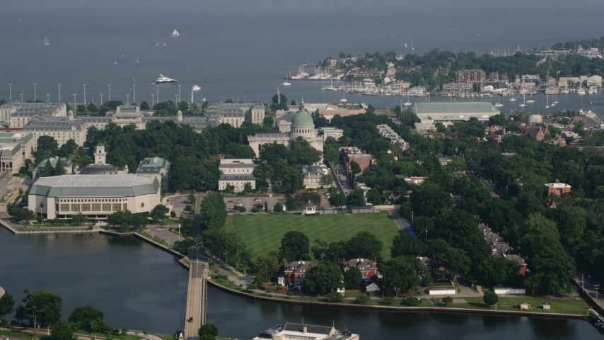 5K stock footage aerial video of Alumni Hall, The Chapel, and campus buildings at United States Naval Academy, Annapolis, Maryland Aerial Stock Footage | AX73_021