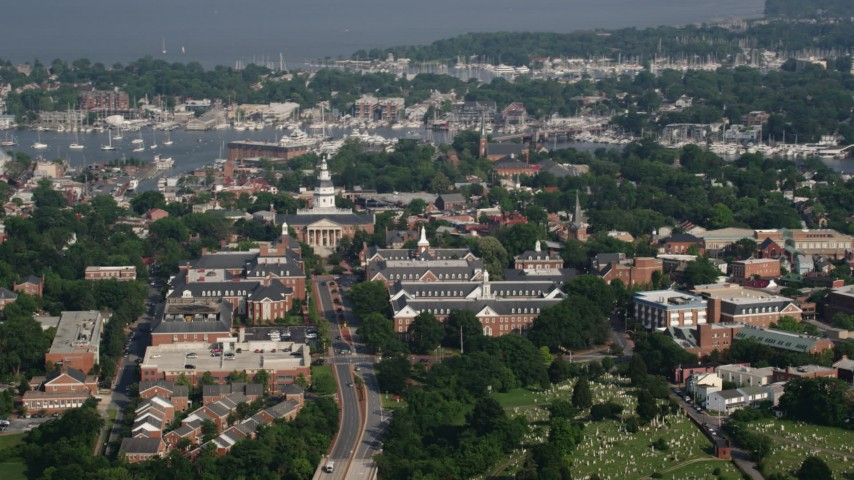 5K aerial stock footage video of the Maryland State House in Annapolis, Maryland Aerial Stock Footage | AX73_022